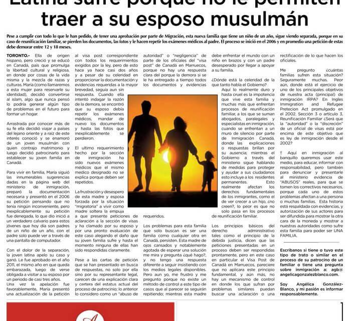 Latina sufre porque no le permiten traer a su esposo musulmán