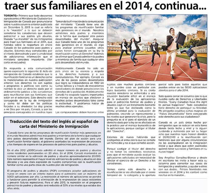 """""""La maratón"""" de los inmigrantes para traer sus familiares en el 2014, continua…"""