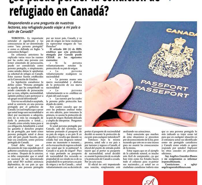 ¿Se puede perder la condición de refugiado en Canadá?