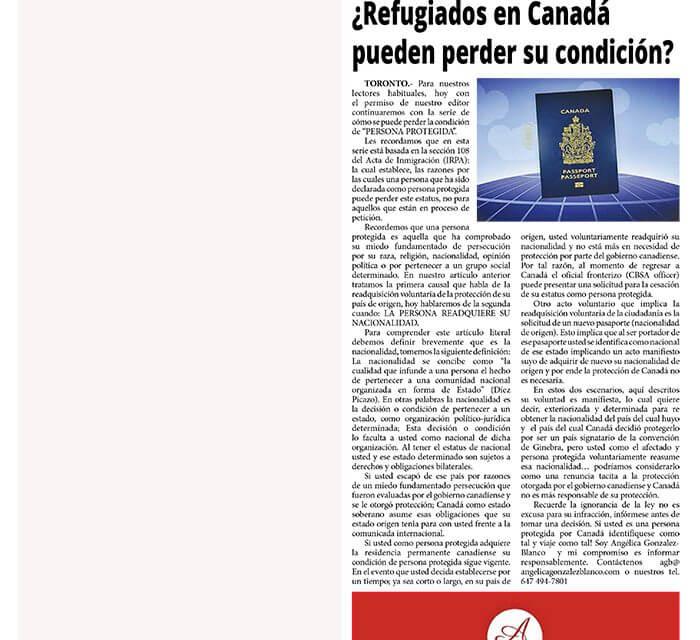 ¿Refugiados en Canadá pueden perder su condición? II Parte informe especial