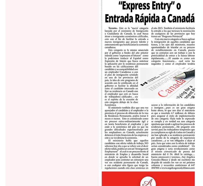 """""""Express Entry"""" o Entrada Rápida a Canadá"""