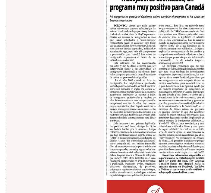 Trabajadores Calificados, un programa muy positivo para Canadá