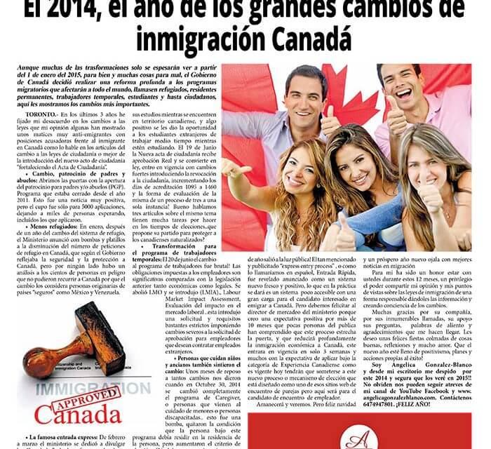 El 2014, el año de los grandes cambios de inmigración Canadá