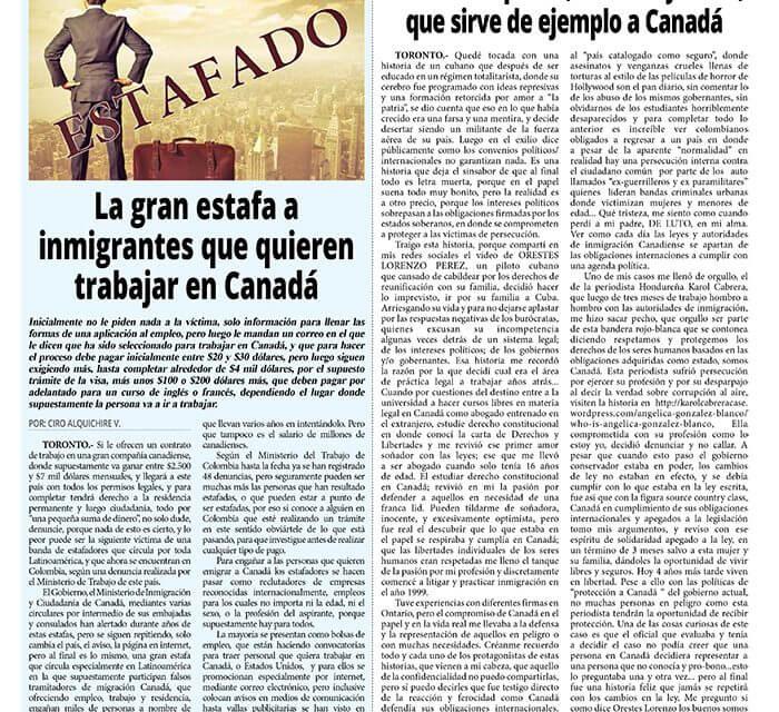 Historia de patria, libertad y amor, que sirve de ejemplo a Canadá