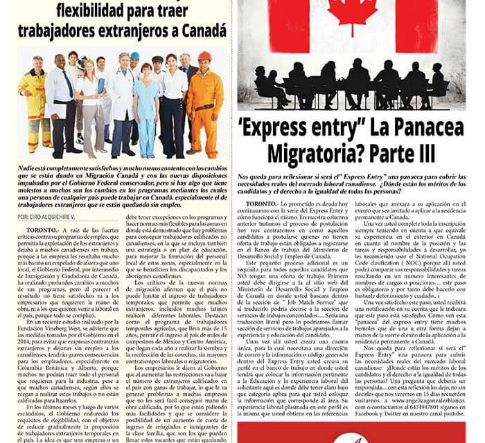 """«Express Entry"""" La Panacea Migratoria? Parte III."""