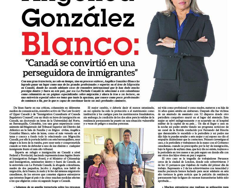 """Angélica González Blanco: """"Canadá se convirtió en una perseguidora de inmigrantes"""""""